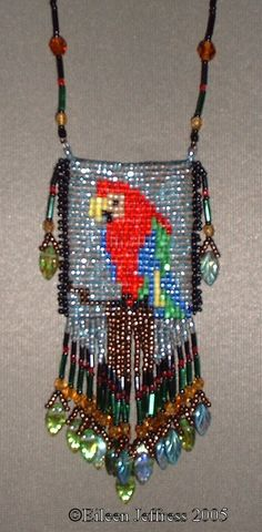 amulet bags | Loom beaded amulet bag kit. Parrot design.