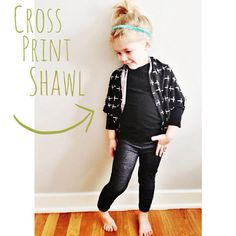 Cross Print Shawl // Toddler Girl Clothing // Baby Girl Shawl Cardigan  // Open Front Cardigan // Hipster Girl Clothing