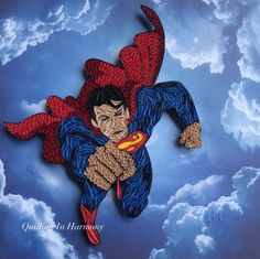 """Quilling """"Superman"""" 12""""x12""""(30cmx30cm). Hand crafted paper artwork for sale by Jan and Shannon Howard. For custom orders please contact us at quilling_in_harmony@hotmail.com"""