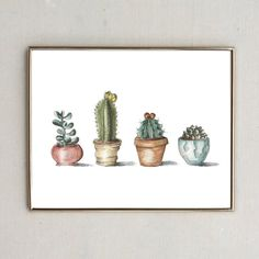 Simple and sharp these four super cool potted cactus will add a little dessert... I mean desert to any room! Perfect for a wedding or house warming gift! Printed on white eggshell card stock, packaged in a clear cover and shipped flat.