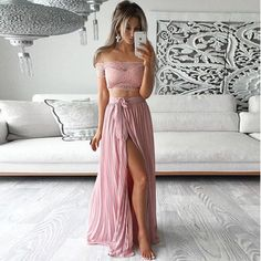 Two Pieces Long Prom dresses A line Short sleeve Chiffon Prom Dress
