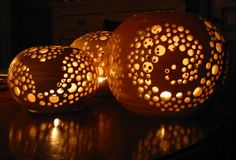 Françoise Busin - Photophores | Flickr - Photo Sharing! Pottery Orb Candle Holder...This looks so cool ~ I want to try to make something similar with plaster or hypertufa.