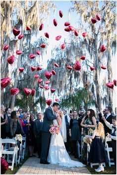 Balloon wedding photo. Love certainly is in the air!