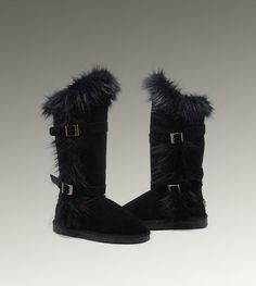 UGG Womens Fox Fur Tall Black $200 : UGG Outlet, Cheap UGG Boots Outlet Online, 50%-70% Off!