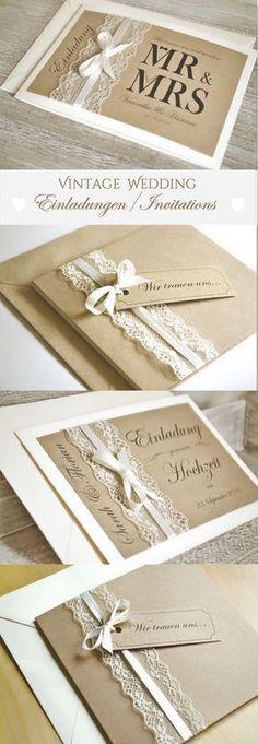 Einladungskarten, Save The Date Karten Zu Eurer Hochzeit, Vintage Mit  Spitze U0026 Kraftpapier In