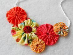 Necklace YoYo Quilt Fabric Necklace Yo Fiber Art Bib Statement Wedding Necklace Pumpkin Orange Yellow Wholesale