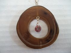 Ox Horn Pendant  26 inch with Pink Jasper by WanderingSaint, $16.00