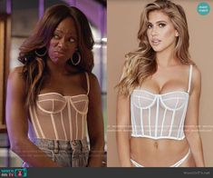 Meshki Yasmin Bustier worn by Molly Carter (Yvonne Orji) on Insecure Fashion Tv, Curvy Fashion, Skirt Fashion, Fashion Outfits, Bustier Outfit, Bustier Top, Lingerie Models, Lace Lingerie, Outfit Goals