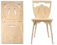 One chair, flat pack made from one piece of wood! Studio Lo: Flat Pack Fun from France Folding Furniture, Space Saving Furniture, Furniture Plans, Diy Furniture, Modern Furniture, Furniture Design, Handmade Furniture, Folding Chair, Diy Design