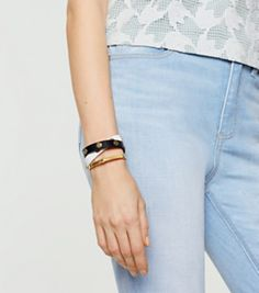 Black / New Ivory Tory Burch Color-block Double-wrap Logo Stud Bracelet
