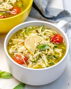 {New} Pesto Chicken Zoodle Soup🌱🍋 Best of both worlds!🌍 This soup is incredibly comforting throughout cold winter months, yet bright and cheerful during the Chicken Zoodle Soup, Pesto Chicken, Healthy Chicken, Clean Eating Recipes, Healthy Eating, Healthy Recipes, Clean Eating Soup, Healthy Detox, Soup Recipes
