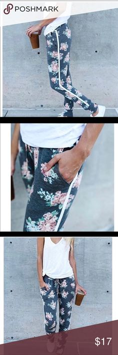 Feb SaleCute-floraljog pants Jogger / relax pants  with pockets New with tags   Cotton blend Made in China Pink & blue.      #758 Bigstore Pants Track Pants & Joggers