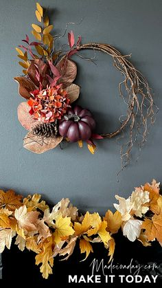 Looking for an elegant wreath for your decor this fall? Go for the dark hues with my Fall Eucalyptus Pumpkin Wreath tutorial. Perfect for dark fireplaces and walls! purple pumpkin, red and orange fall wreath, fall wispy purple pumpkin wreath, fall eucalyptus pumpkin wreath