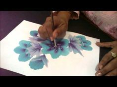Blue and purple flower ; one stroke tecnique - YouTube