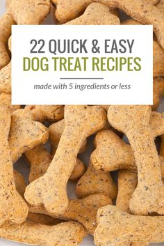 Looking for some simple dog treat recipes? Here are 22 homemade dog treat recipes, all made with 5 ingredients or less.
