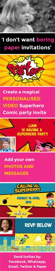 Create the perfect kids video party invitation that makes organising your party a piece of cake. Children's e-vites have never been so magical. Online Birthday Invitations, Party Invitations Kids, Invitation Paper, Superman Party, Superhero Party, Party Themes, Party Ideas, Theme Ideas, Villains Party