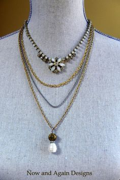 Great Gatsby Inspired Vintage Rhinestone, Fresh Water Pearl, Bead and Multi Chain Assemblage Necklace by Now and Again Designs on ESTY, $72.00
