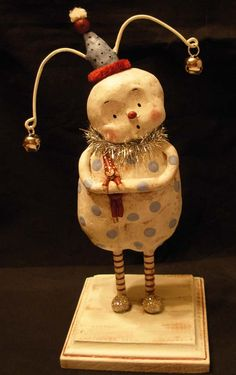 Sculpted Christmas Snowman, BOY HOWDIE PAPIER MACHE FOLK ART by Dawn Tubbs