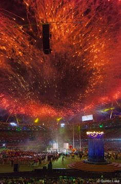 Fireworks during handover to Brazil, Paralympics closing ceremony, London, Sept. 9, 2012