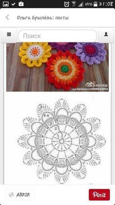 Crochet Flower Squares, Crochet Doily Rug, Crochet Mask, Crochet Mandala Pattern, Crochet Flower Tutorial, Crochet Lace Edging, Crochet Curtains, Crochet Flower Patterns, Crochet Diagram