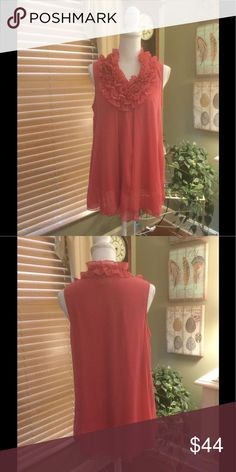 """Marc Brouwer top This gorgeous pink top boasts pretty detail around the neckline and is softly pleated making for a flattering design.  Shoulder to hem measures 28"""" and armpit to armpit is 21"""" Marc Bouwer Tops Blouses"""
