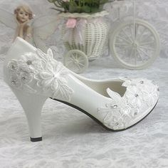 8ad369dc49e8 Plus size 40 41 fashion lace wedding shoes white for women TG312 handmade bridal  shoe comfortable heel platforms brides shoe-in Women s Pumps from Shoes on  ...