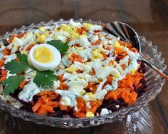 Finnish Rosolli Salad,  a rainbow of grated beet, carrot and potato traditional at Christmas in Finland but somehow perfect for Easter, too. #LowCarb #Paleo #GF #Whole30 For Weight Watchers, #PP3. #AVeggieVenture