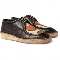Burberry Prorsum Woven-Top Cork-Sole Leather Shoes - sweet!!