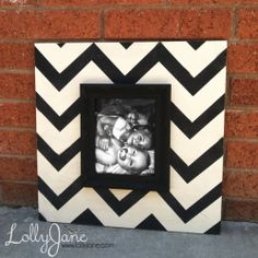An easy way to make a trendy frame. Paint a piece of wood, add a frame to the top.