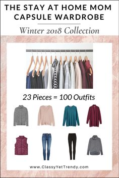 The Stay At Home Mom Capsule Wardrobe: Winter 2018 Collection Maximize your closet, get dressed quickly and get 100 outfits from only 23 clothes and shoes! IS YOUR CLOSET FULL OF CLOTHES, BUT YOU HAVE NOTHING TO WEAR? YOU NEED… The Stay At Home Mom Capsule Wardrobe: Winter 2018 Collection! Perfect for: Moms, Retired Ladies …