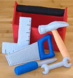 Tool Box And Tool Set Felt Toy PDF Pattern (hammer, Screwdriver, Saw, Square…