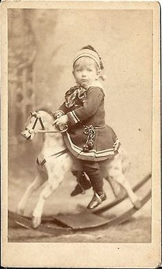 Antique Victorian CDV Photo Little Boy on Rocking Horse | eBay