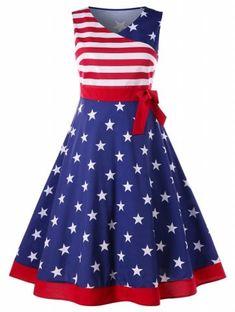 Plus Size V Neck American Flag Dress - multicolor Vintage Dresses Online, Plus Size Vintage Dresses, Plus Size Dresses, Vintage Outfits, American Flag Dress, Patriotic Dresses, Patriotic Clothing, Dresser, Big Size Dress