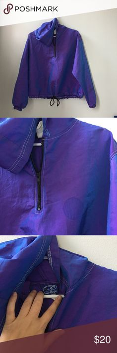 Vintage Ocean Pacific Windbreaker Super cute iridescent purple hooded Windbreaker. Drawstring around the waist and a half zip. There's a mark where a patch used to be. Awesome statement piece Vintage Tops Sweatshirts & Hoodies