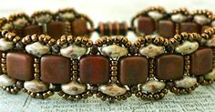 "TOYING WITH TILES BRACELET   11/0 seed beads Toho ""Hybrid Light Beige Picasso"" (11-Y306)  15/0 seed beads ""Metallic Chocolate"" (no info a..."