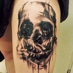 25 exemplos incríveis de tatuagens que combinam caveiras com ilusão de ótica   Ideia Quente