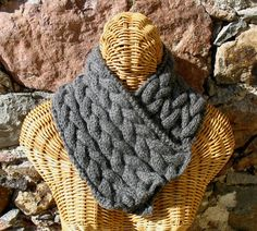 Braided Alpaca Scarflette in Natural Gray by HestiaHandKnits, $80.00