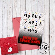 Stranger things Christmas lights the Upside down Christmas card
