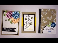 3 Cards using One stamp Set / Flourishing Phrases - Stampin' Up - YouTube