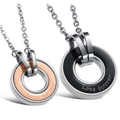 """""""Love+Forever""""+Titanium+Steel+Matching+Couples+Pendants+Necklaces+Set++,Best+personalized+gifts+for+him+or+her+on+Yoyoon.com"""
