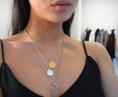 Styling by sofiemwe showing Wild Pendant Gold, Shiny Letter Pendant S Silver and Simple Line Chain Earrings Gold Medium #jewellery #Jewelry #bangles #amulet #dogtag #medallion #choker #charms #Pendant #Earring #EarringBackPeace #EarJacket #EarSticks #Necklace #Earcuff #Bracelet #Minimal #minimalistic #ContemporaryJewellery #zirkonia #Gemstone #JewelleryStone #JewelleryDesign #CreativeJewellery #OxidizedJewellery #gold #silver #rosegold #hoops #armcuff #jewls #jewelleryInspiration…