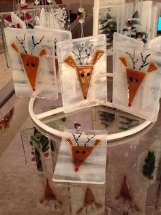 Santa's Reindeer Mosaic Fused Glass Ornament by Marusca on Etsy