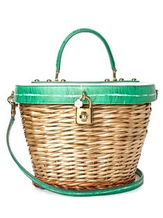 Browse and shop Dolce & Gabbana Banana Leaf-print Leather And Wicker Basket Bag from the world's best luxury designer boutiques at Modalist, choose from widest range of designer pieces. White Leather Handbags, Green Leather, Leather Purses, Leather Bags, Dolce And Gabbana Purses, Dolce Gabbana, Green Handbag, White Handbag, Green Purse