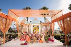 Oceanfront Hindu wedding ceremony at the Hyatt Regency Huntington Beach. PC: Lin & Jirsa  shaadishop.co