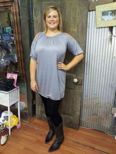 Cowgirl Clad Company - Peek-A-Boo Gray Tunic, $28.00 (http://www.cowgirlclad.com/peek-a-boo-gray-tunic/)