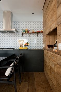 kitchen + wood + tiles