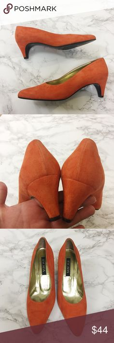 Vintage Escada Orange Suede Heels Beautiful suede Escada pumps. 2 inch heel. Size is 7.5 B. Gently used with some wear on suede but no damage or marks. Escada Shoes Heels