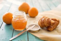 Pic: Healthy breakfast with orange jam and croissants