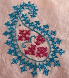 Ideas For Embroidery Designs Indian Cross Stitch Hand Work Embroidery, Embroidery Monogram, Embroidery Patterns Free, Hand Embroidery Designs, Beaded Embroidery, Embroidery Stitches, Creative Embroidery, Saree Painting Designs, Kutch Work Designs