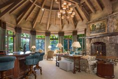 French Country Style Castle in Fairbanks Ranch Family Room, Home And Family, Rich Home, Million Dollar Homes, Mansions For Sale, French Country Style, Rustic Elegance, Luxury Living, Luxury Real Estate